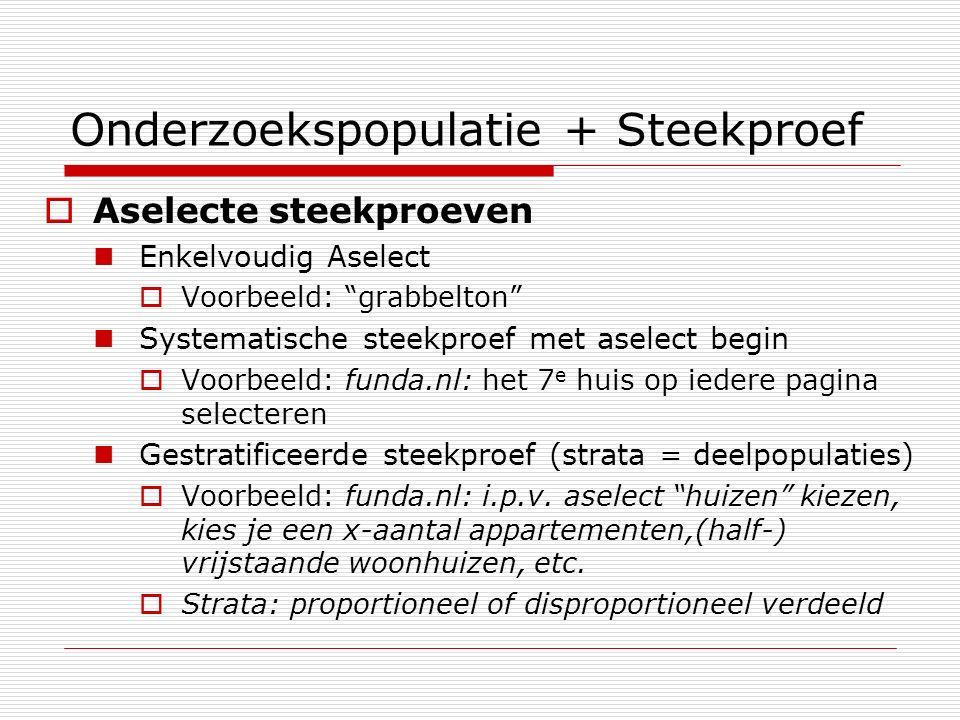 Onderzoekspopulatie + Steekproef