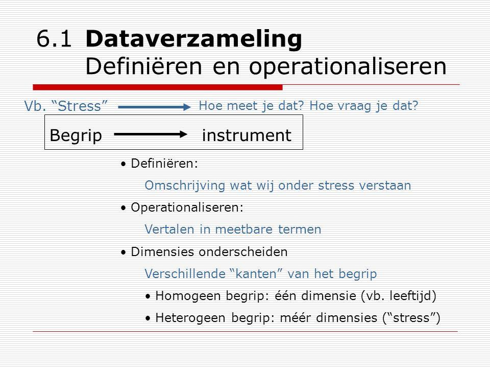 6.1 Dataverzameling Definiëren en operationaliseren