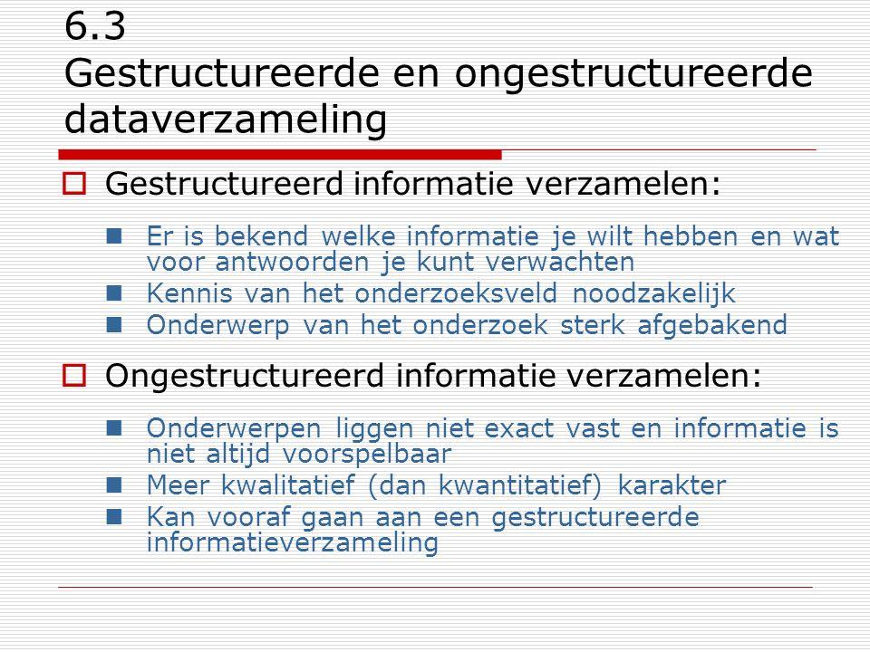 6.3 Gestructureerde en ongestructureerde dataverzameling