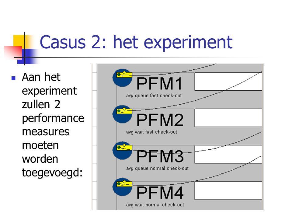Casus 2: het experiment Aan het experiment zullen 2 performance measures moeten worden toegevoegd: