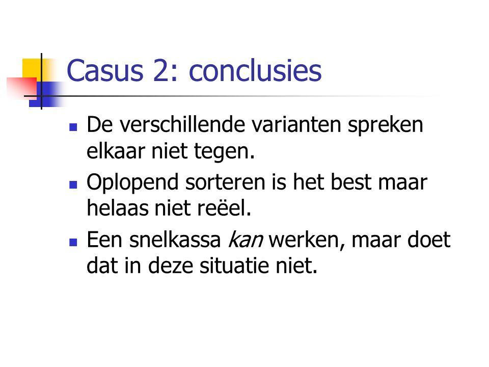 Casus 2: conclusies De verschillende varianten spreken elkaar niet tegen. Oplopend sorteren is het best maar helaas niet reëel.