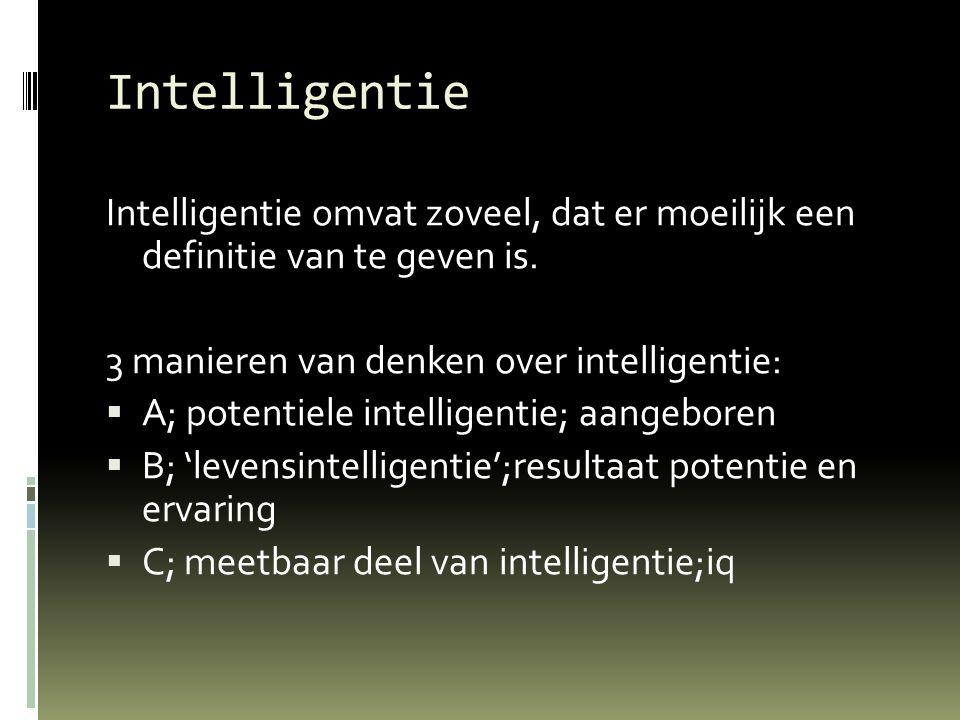 Intelligentie Intelligentie omvat zoveel, dat er moeilijk een definitie van te geven is. 3 manieren van denken over intelligentie:
