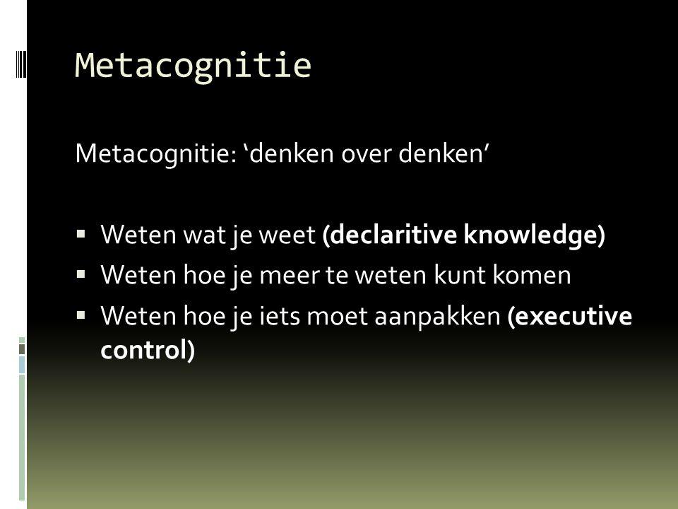 Metacognitie Metacognitie: 'denken over denken'