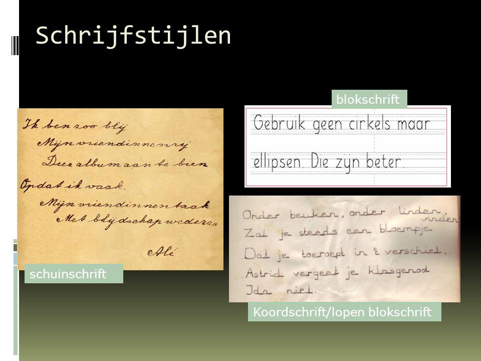 Schrijfstijlen blokschrift schuinschrift