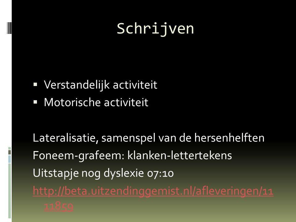 Schrijven Verstandelijk activiteit Motorische activiteit
