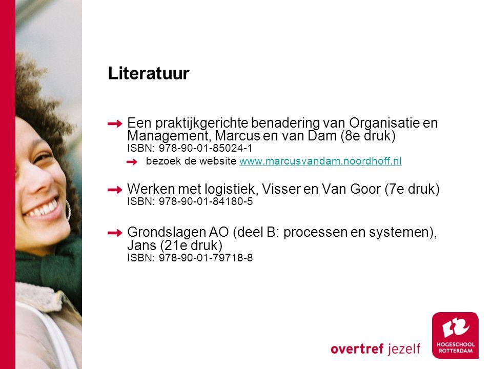 Literatuur Een praktijkgerichte benadering van Organisatie en Management, Marcus en van Dam (8e druk) ISBN: 978-90-01-85024-1.