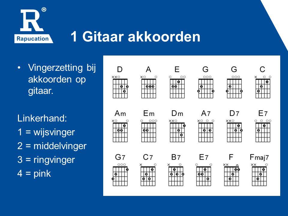 1 Gitaar akkoorden Vingerzetting bij akkoorden op gitaar. Linkerhand: