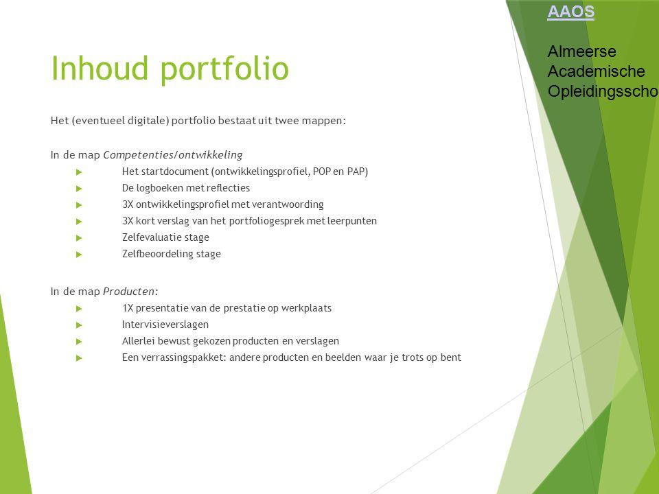 Inhoud portfolio AAOS Almeerse Academische Opleidingsschool