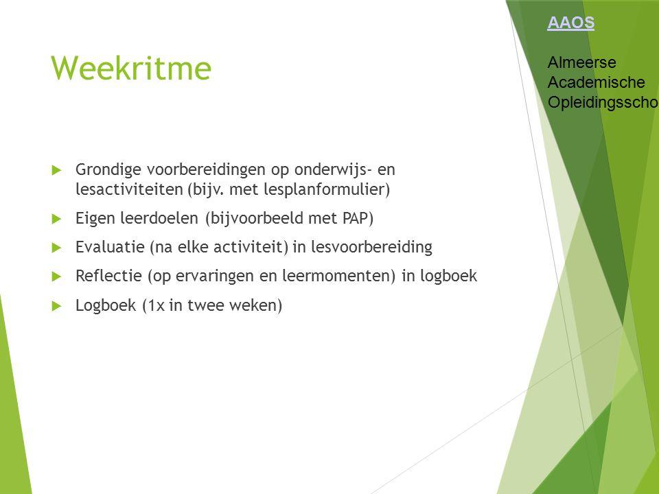 Weekritme AAOS Almeerse Academische Opleidingsschool