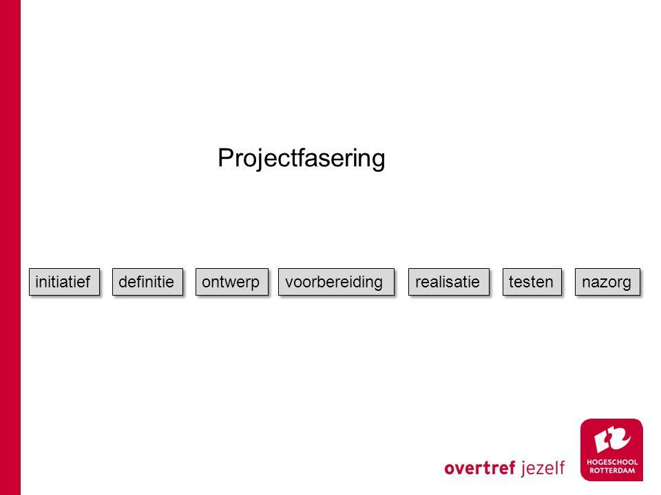 Projectfasering initiatief definitie ontwerp voorbereiding realisatie