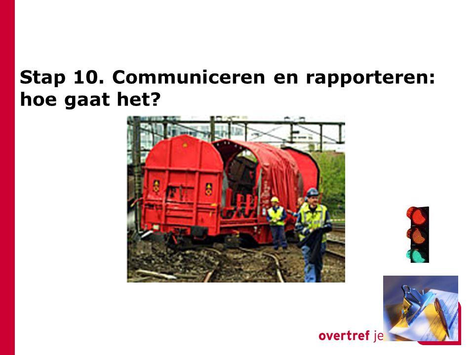 Stap 10. Communiceren en rapporteren: hoe gaat het