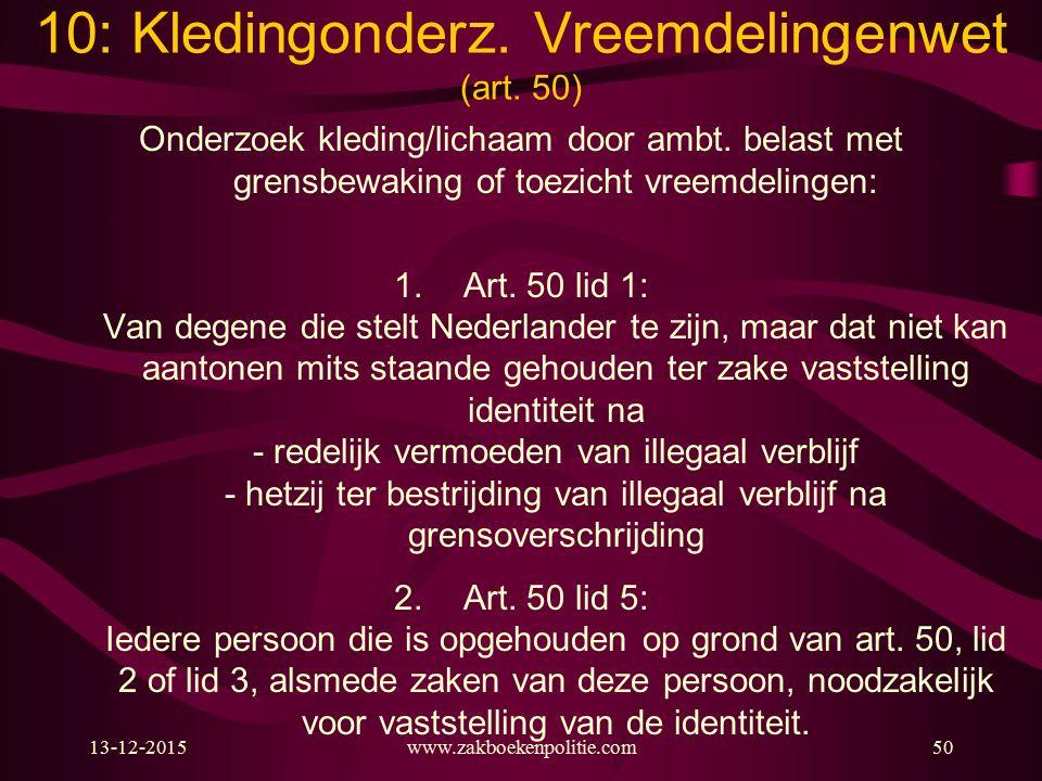 10: Kledingonderz. Vreemdelingenwet (art. 50)