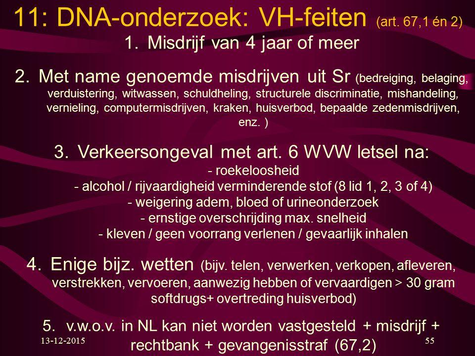 11: DNA-onderzoek: VH-feiten (art. 67,1 én 2)