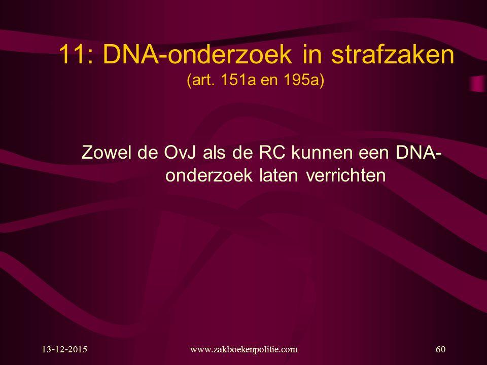 11: DNA-onderzoek in strafzaken (art. 151a en 195a)