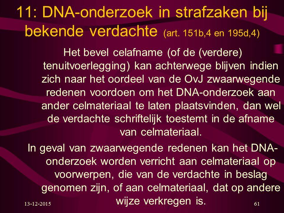 11: DNA-onderzoek in strafzaken bij bekende verdachte (art