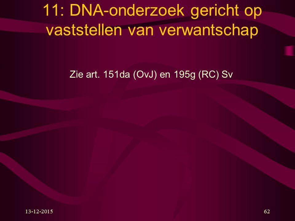 11: DNA-onderzoek gericht op vaststellen van verwantschap