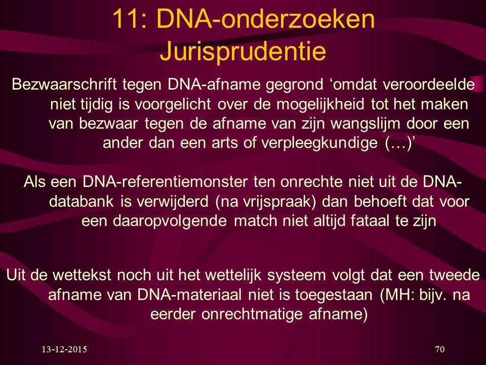 11: DNA-onderzoeken Jurisprudentie