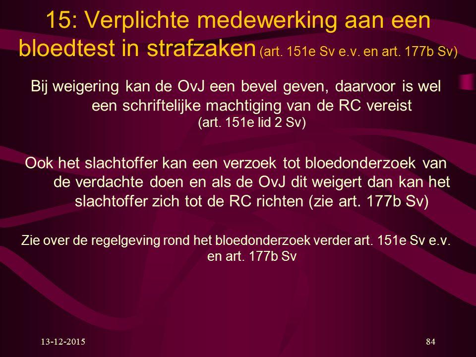 15: Verplichte medewerking aan een bloedtest in strafzaken (art