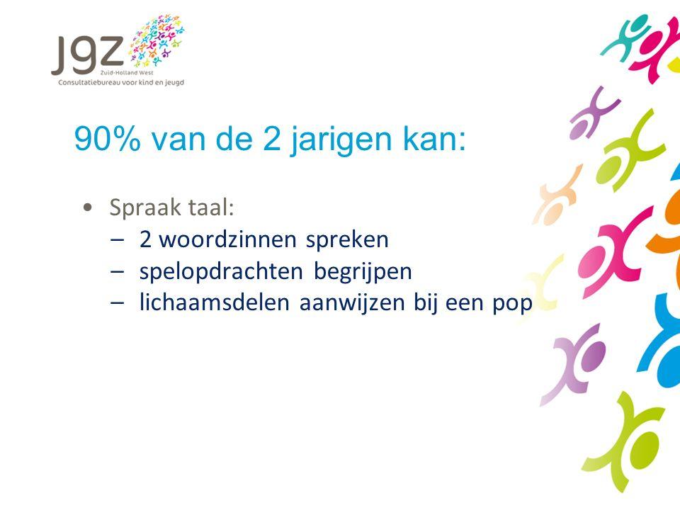 90% van de 2 jarigen kan: Spraak taal: 2 woordzinnen spreken