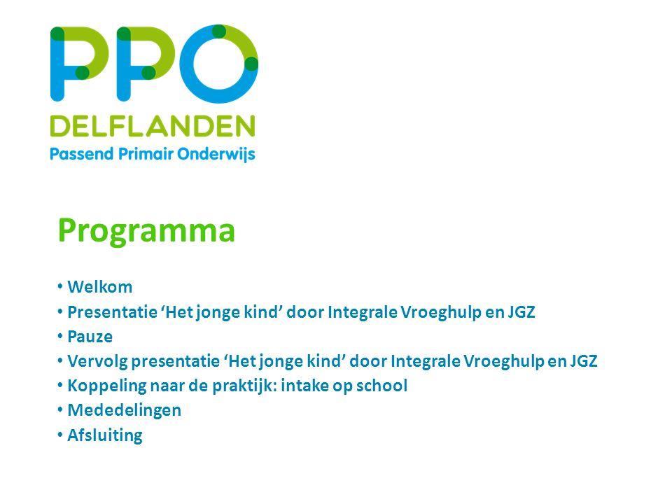 Programma Welkom. Presentatie 'Het jonge kind' door Integrale Vroeghulp en JGZ. Pauze.