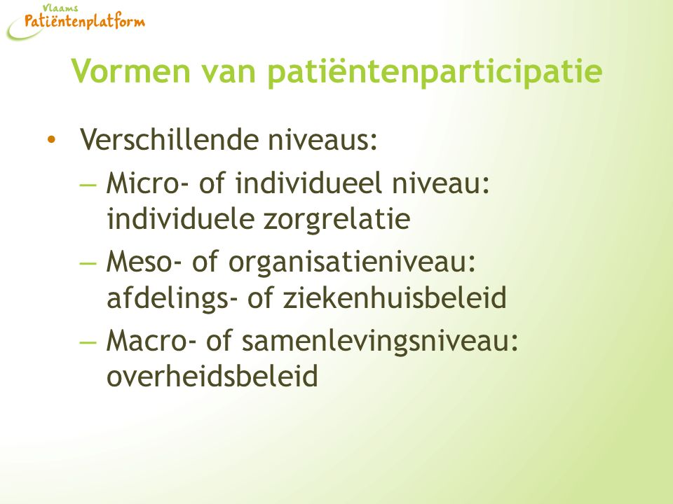 Vormen van patiëntenparticipatie