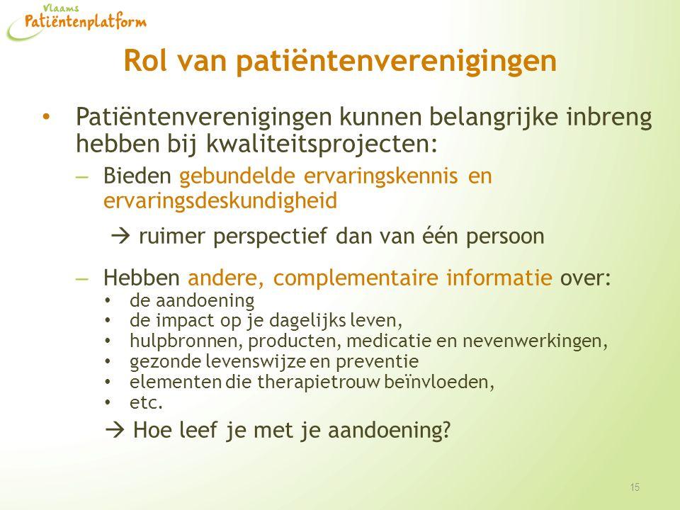 Rol van patiëntenverenigingen