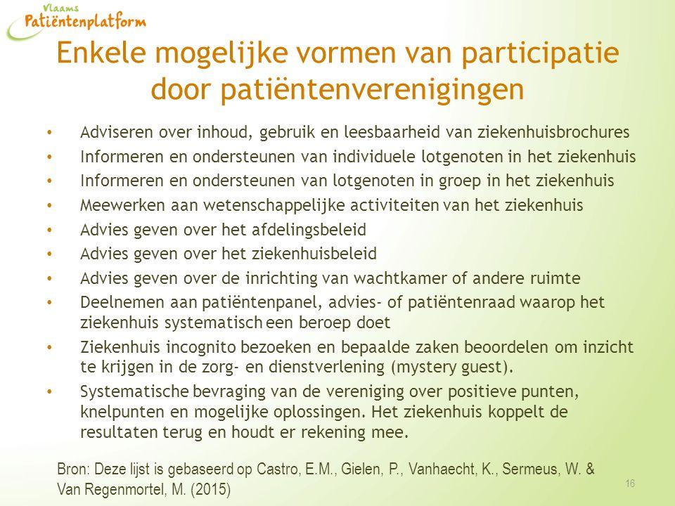 Enkele mogelijke vormen van participatie door patiëntenverenigingen