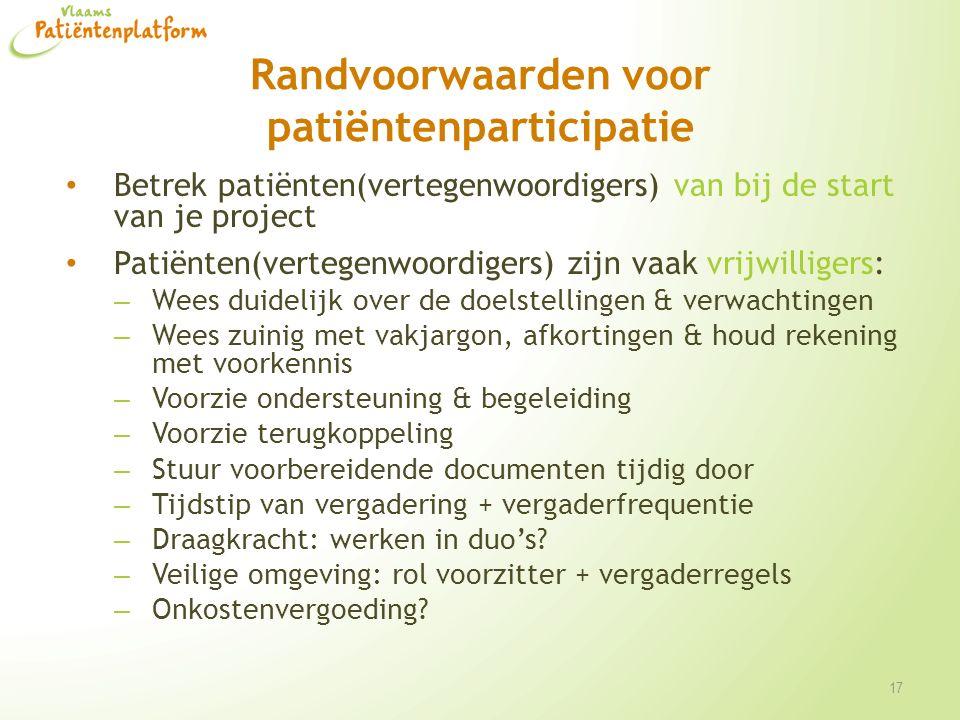 Randvoorwaarden voor patiëntenparticipatie