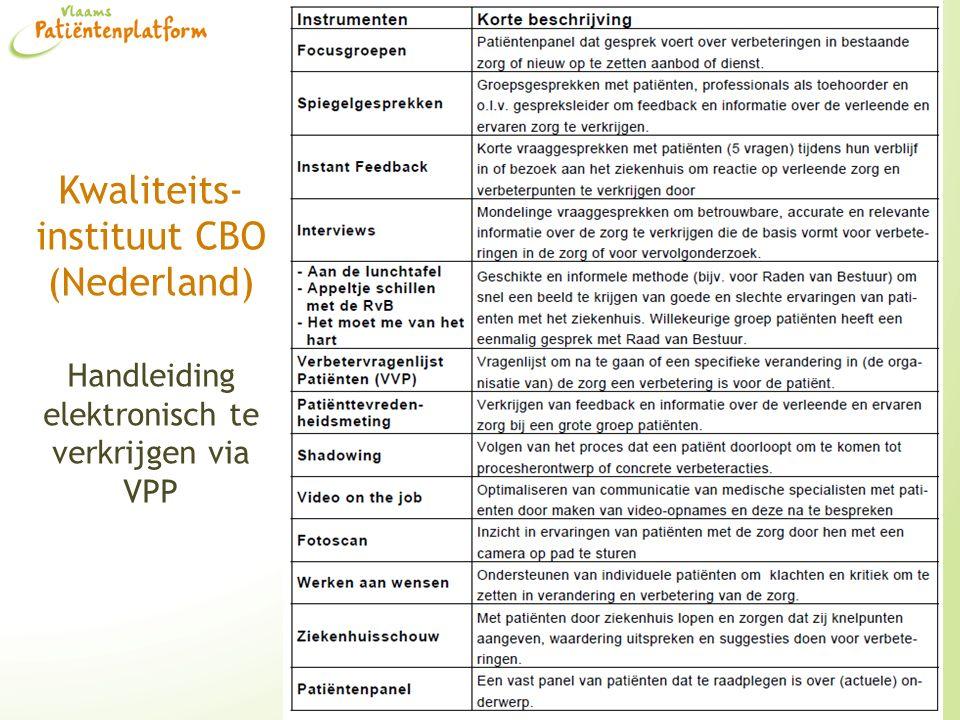 Kwaliteits-instituut CBO (Nederland) Handleiding elektronisch te verkrijgen via VPP