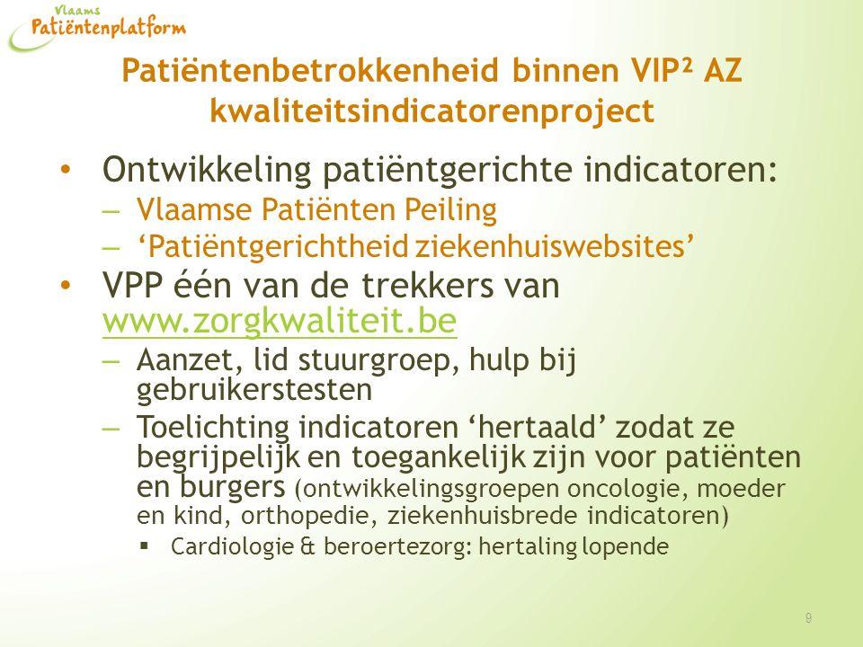 Patiëntenbetrokkenheid binnen VIP² AZ kwaliteitsindicatorenproject