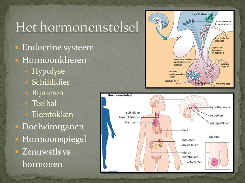 Het hormonenstelsel Endocrine systeem Hormoonklieren Doelwitorganen