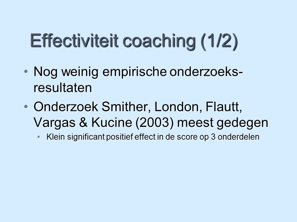 Effectiviteit coaching (1/2)