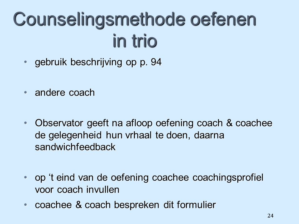 Counselingsmethode oefenen in trio