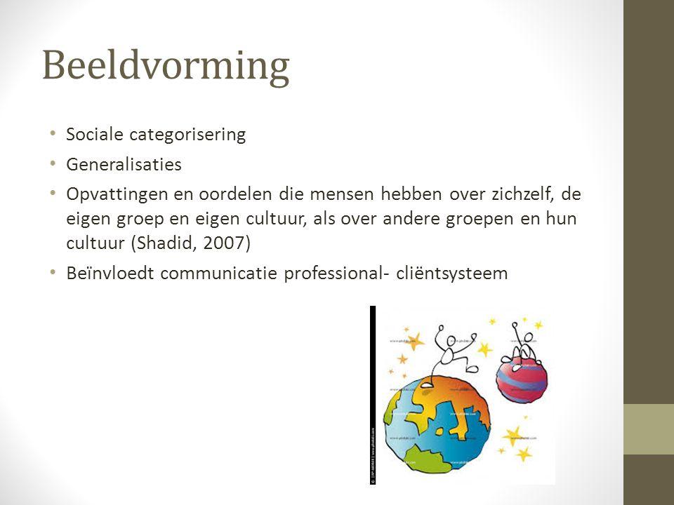 Beeldvorming Sociale categorisering Generalisaties