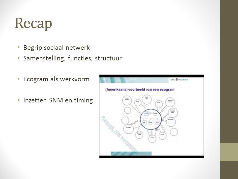 Recap Begrip sociaal netwerk Samenstelling, functies, structuur