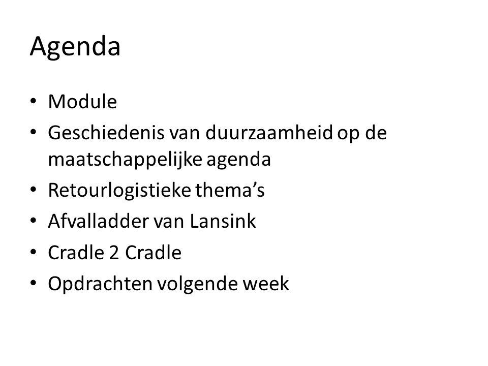 Agenda Module. Geschiedenis van duurzaamheid op de maatschappelijke agenda. Retourlogistieke thema's.