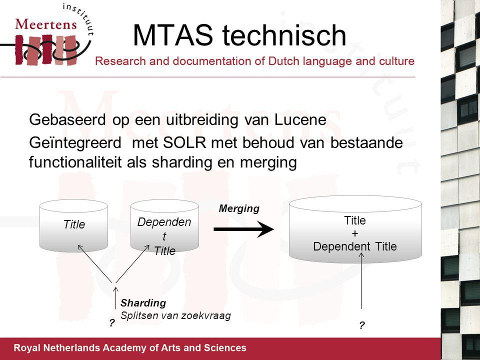 MTAS technisch Gebaseerd op een uitbreiding van Lucene Geïntegreerd met SOLR met behoud van bestaande functionaliteit als sharding en merging