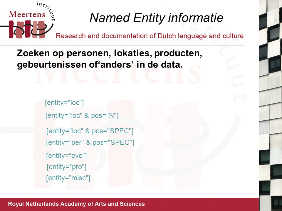 Named Entity informatie