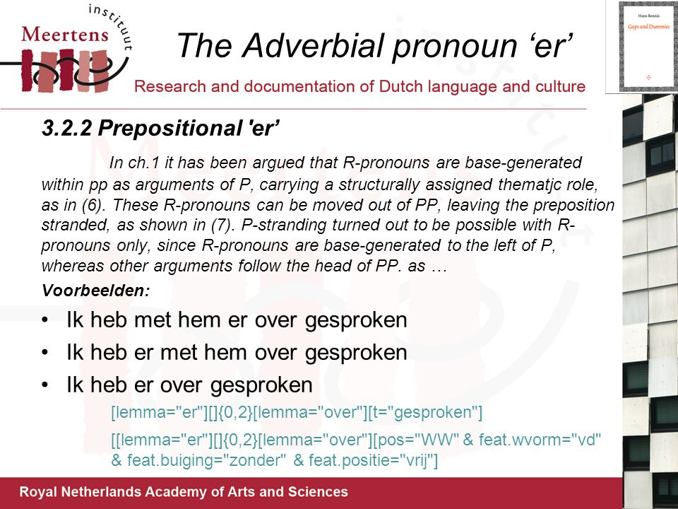 The Adverbial pronoun 'er'