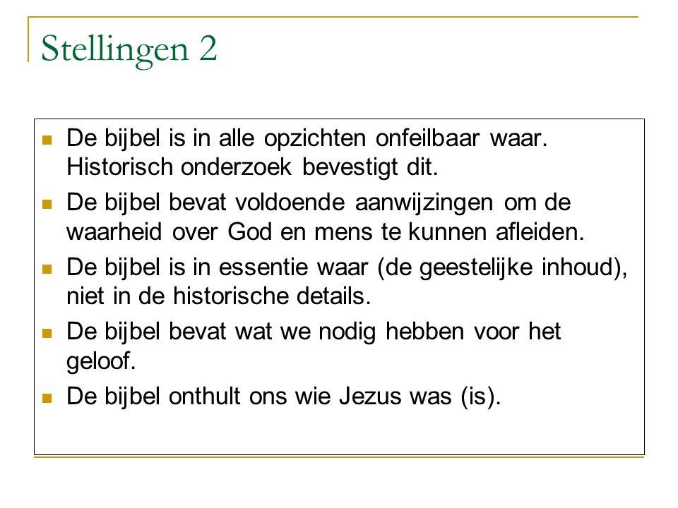 Stellingen 2 De bijbel is in alle opzichten onfeilbaar waar. Historisch onderzoek bevestigt dit.