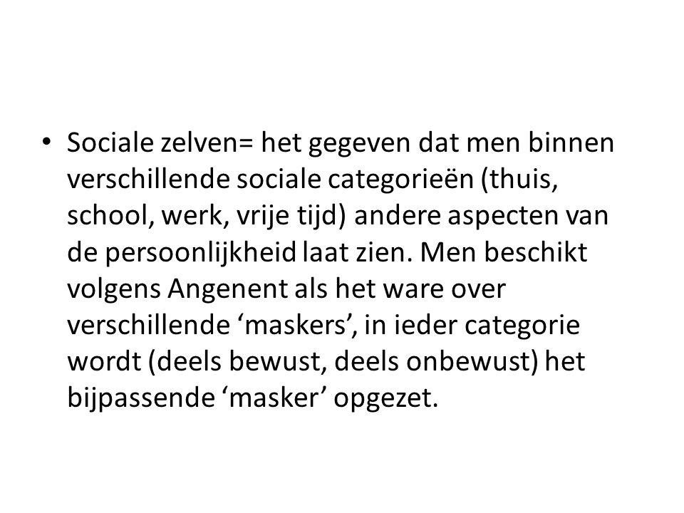 Sociale zelven= het gegeven dat men binnen verschillende sociale categorieën (thuis, school, werk, vrije tijd) andere aspecten van de persoonlijkheid laat zien.
