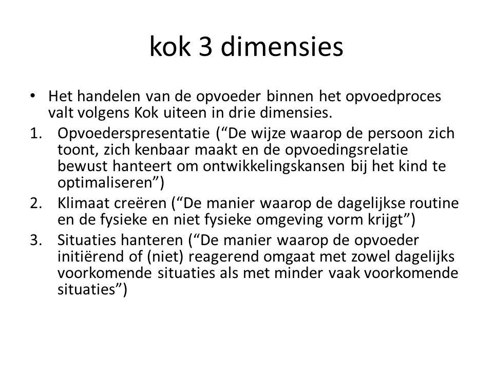 kok 3 dimensies Het handelen van de opvoeder binnen het opvoedproces valt volgens Kok uiteen in drie dimensies.