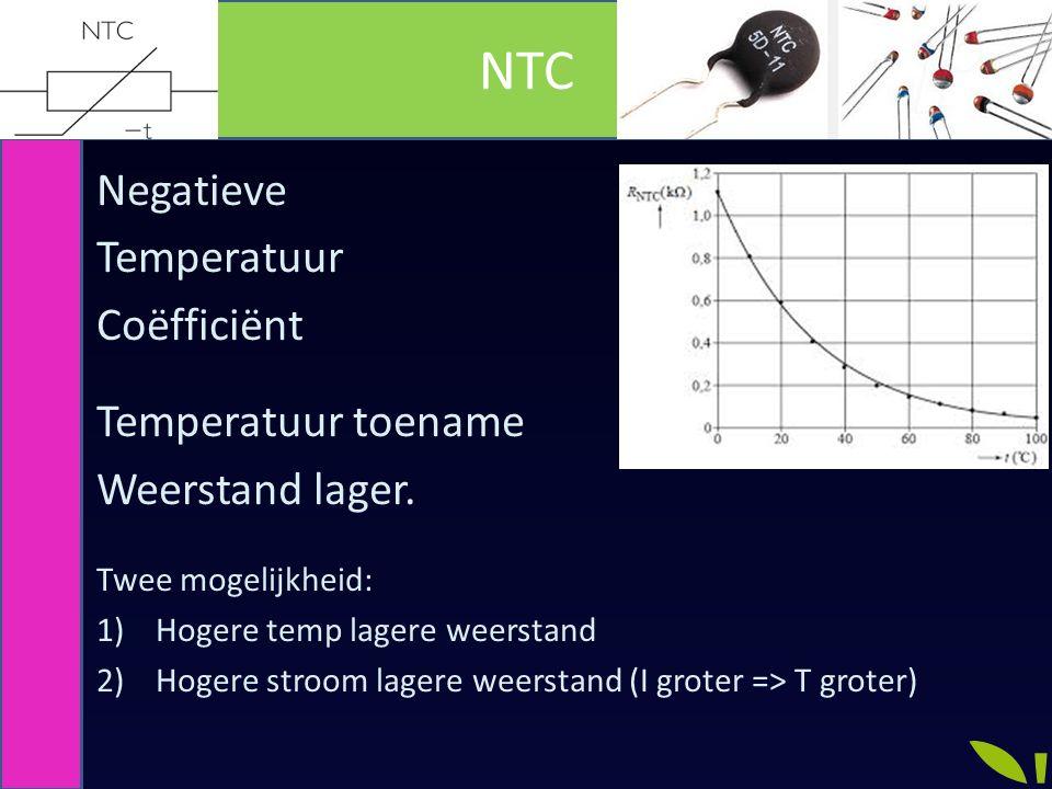 NTC Negatieve Temperatuur Coëfficiënt Temperatuur toename