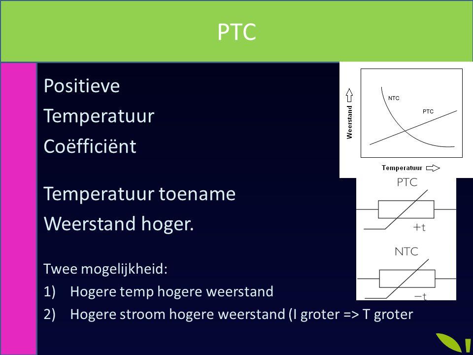PTC Positieve Temperatuur Coëfficiënt Temperatuur toename