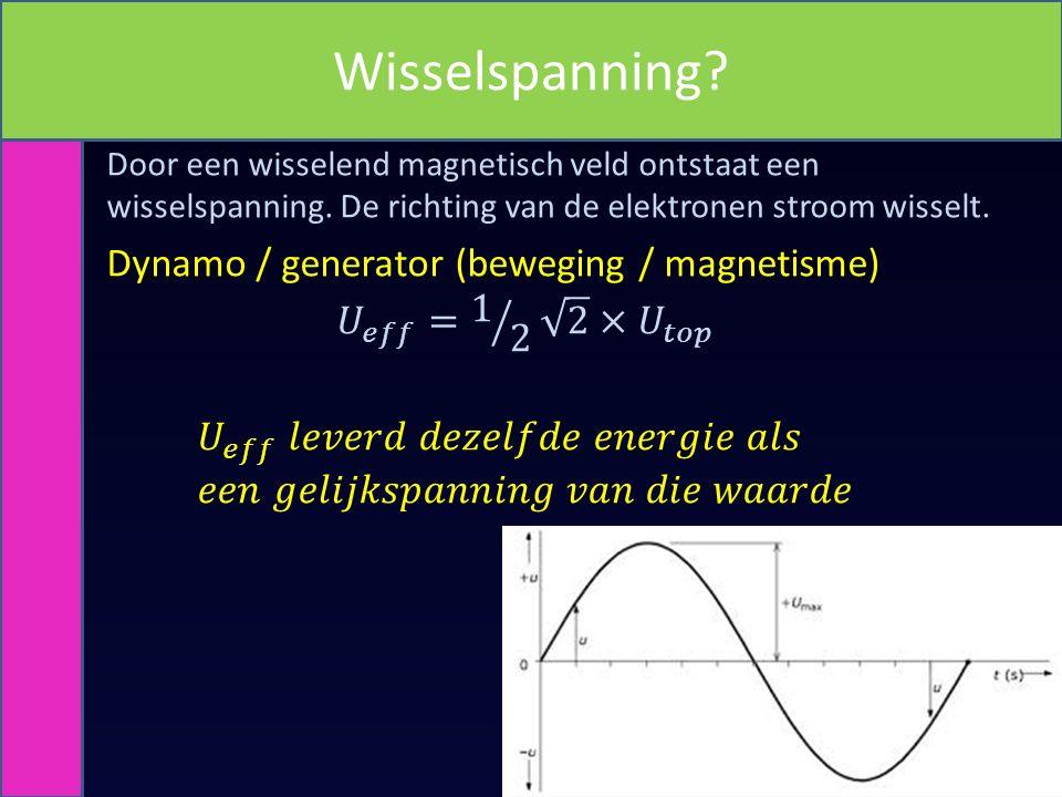 Wisselspanning Dynamo / generator (beweging / magnetisme)