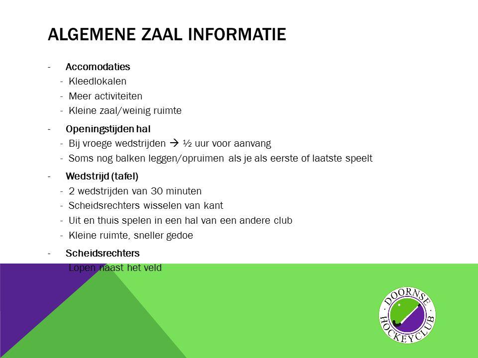 Algemene zaal informatie