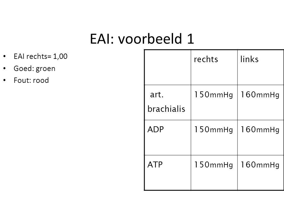 EAI: voorbeeld 1 EAI rechts= 1,00 Goed: groen Fout: rood rechts links