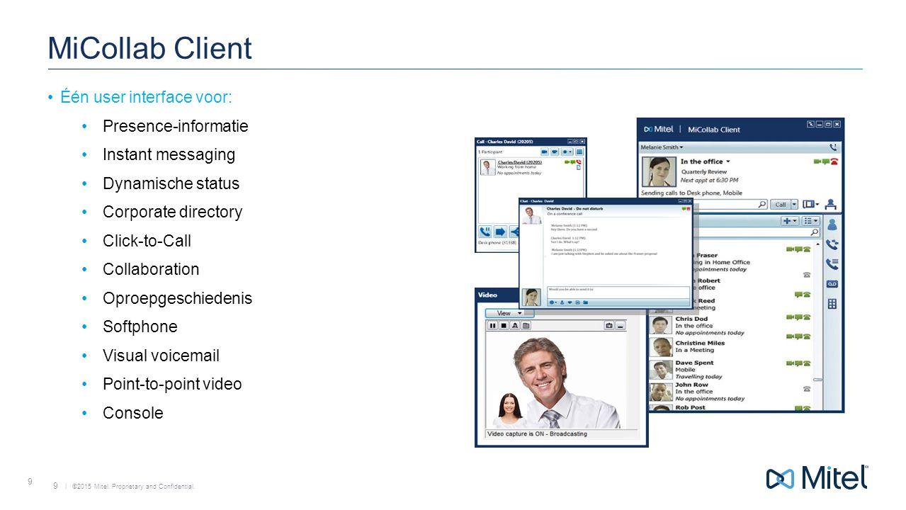 MiCollab Client Één user interface voor: Presence-informatie