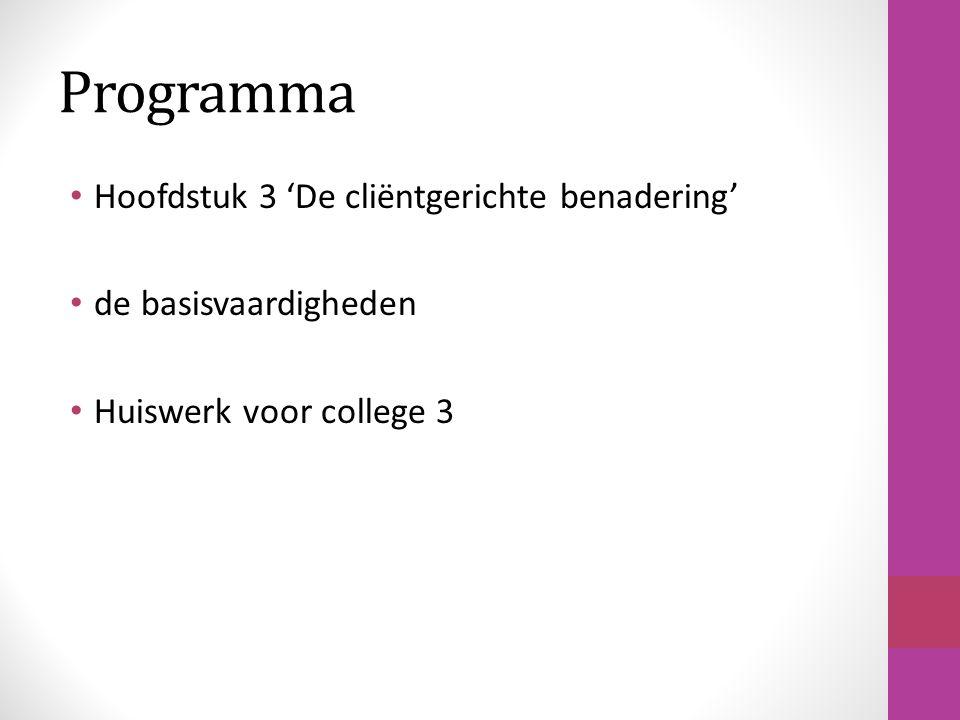 Programma Hoofdstuk 3 'De cliëntgerichte benadering'