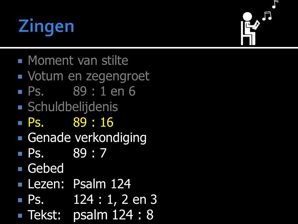 Zingen Moment van stilte Votum en zegengroet Ps. 89 : 1 en 6